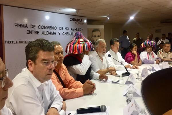 Encinas refrendó el compromiso del gobierno federal para construir las condiciones para un cambio de vida a favor de los habitantes de Aldama y Chenalhó. Foto: @A_Encinas_R